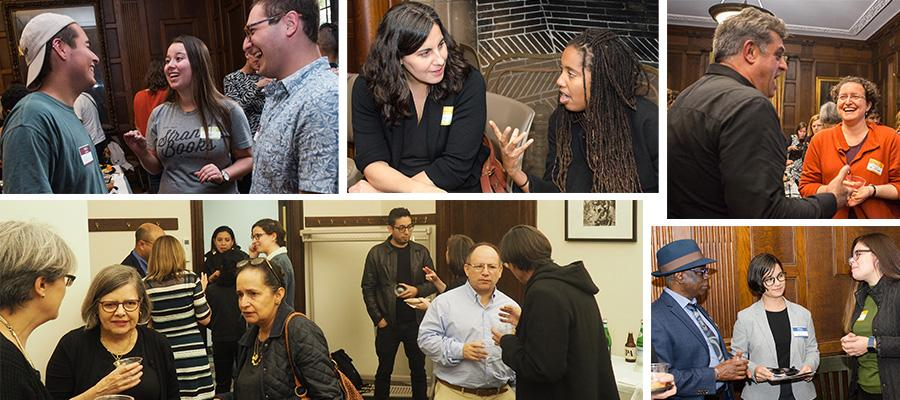 Photo collage of CLAS receptions, groups of people talking