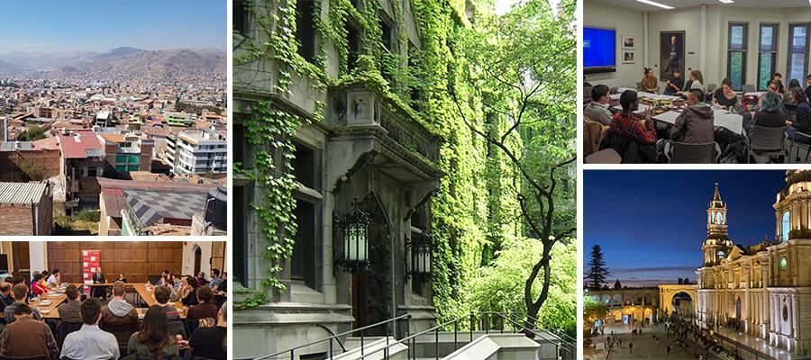 Collage of images of UChicago campus and locations in Latin America
